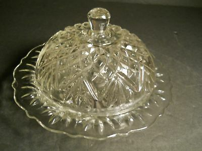 PRESSED GLASS BUTTLER DISH 2 PIECE GLASS DOME DISH NICE