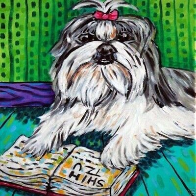 shih tzu reading a book dog art tile coaster
