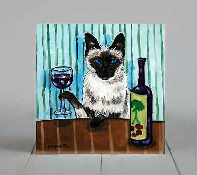 siamese at the wine bar cat art tile coaster