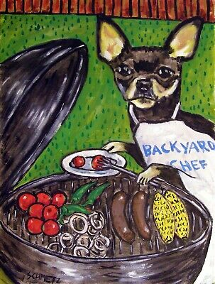 CHihuahua at the cook out dog art print 8x10 animals artist signed impressionism