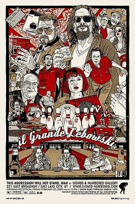 Poster Il Grande Lebowski The Big Coen Brothers Bowling Locandina Cinema #1