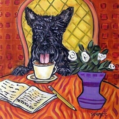 scottish terrier at a cafe COFFEE shop dog art tile coaster tiles coasters gift