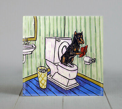 Doberman Pinscher in the bathroom dog art tile coaster