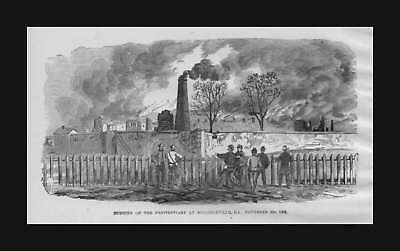 Milledgeville, Georgia, Civil War Scene, antique engraving, print, original 1885