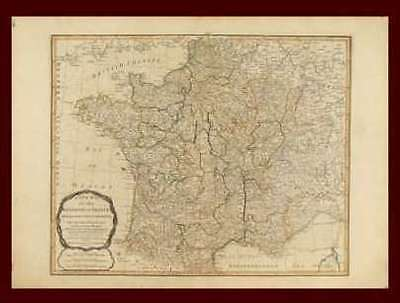 France, Antique map by Thomas Kitchin, Original 1794