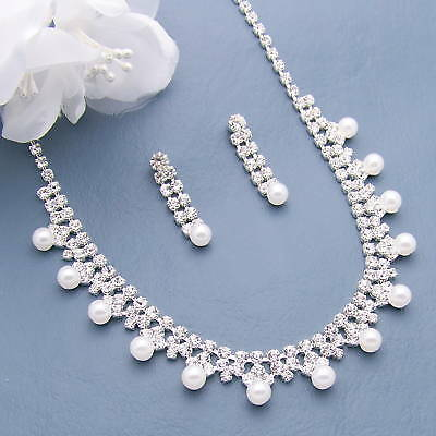 Pearl Necklace Set Bridal Wedding Bridesmaid Gift Prom Jewelry Silver Crystal