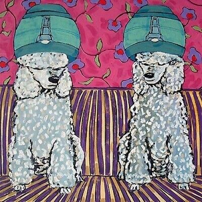 Poodles at the pet salon dog art tile coaster gift