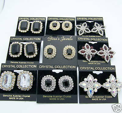 Wholesale LOT 9 Pairs Pierced Earrings Bridal Evening Wedding Prom Crystal New