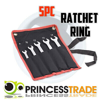 5pc Gear Ratchet Ring Spanner Wrench Set Garage DIY Workshop Tool