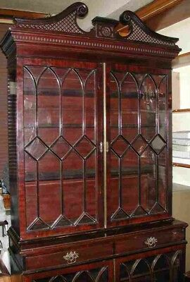Ornate Chinese Chippendale  Mahogany Antique Bookcase Cabinet. Fabulous.