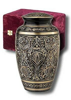 Adult Black and Gold Brass Cremation Urn w. Velvet Box
