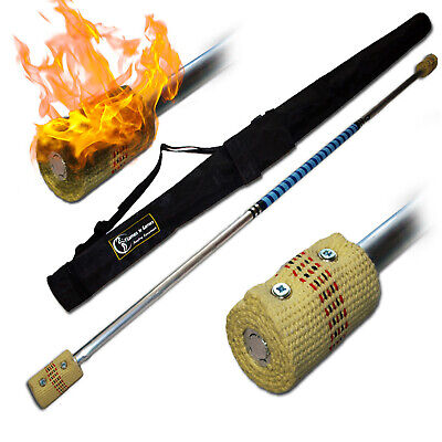 Flames 'N Games CONTACT Fire Staff 1.4m + FREE Bag! (2 x 65mm wick)
