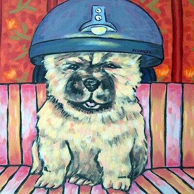 chow chow at the salon dog art tile coaster gift
