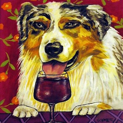 AUSTRALIAN SHEPHERD at a wine bar dog art tile coaster