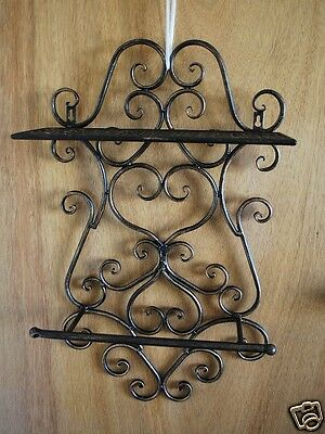 Wrought Iron French Style Bathroom Shelf Towel Bar 63cm Hx 38cm W x 16cm D