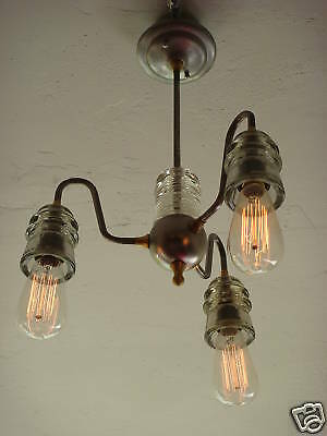 INDUSTRIAL MODERN LIGHT FIXTURE VINTAGE 30's GLASS LAMP