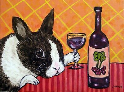bunny rabbit WINE 13x19 art print poster picture pet
