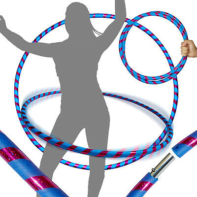PRO Hula Hoops (Ultra-Grip/Glitter Deco) Weighted TRAVEL Hula Hoop (Purple/Blue)