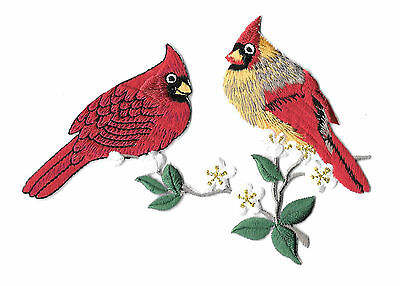Cardinal - Bird - Cardinal Couple On Branch - Embroidered Iron On Applique Patch