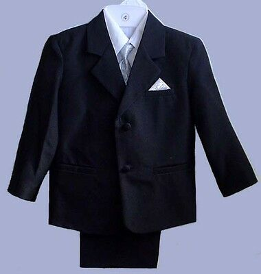 Boys Black Wedding Ring Boy Suit Tuxedo Silver Vest #0