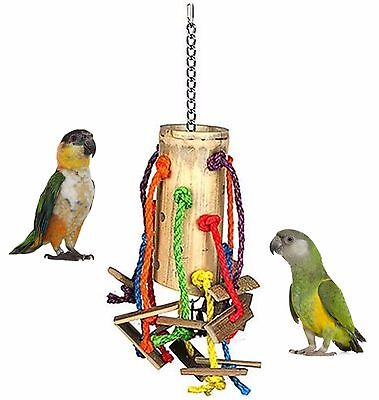 Large 40Cm Bamboo Puzzle Parrot Cage Toy African Grey Amazon Bell & Rope