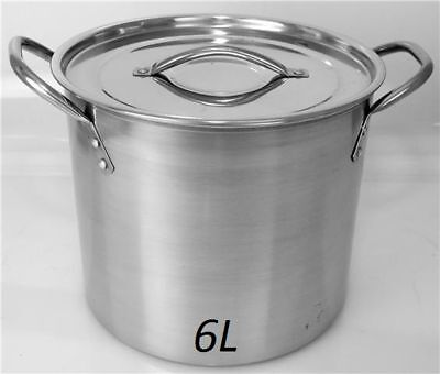 HIGH QUALITY 6 Litre Deep Stainless Steel Stock Soup pot Stew Pan Casserole