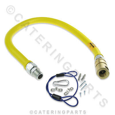 "1000mm LONG FLEXIBLE QUICK RELEASE CONNECTOR TYPE YELLOW GAS HOSE 3/4"" 22mm"