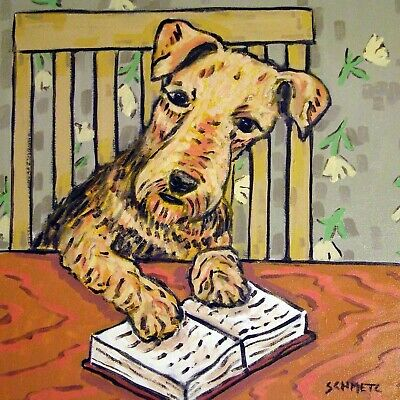 Airedale Terrier reading a book animal dog art tile coaster gift