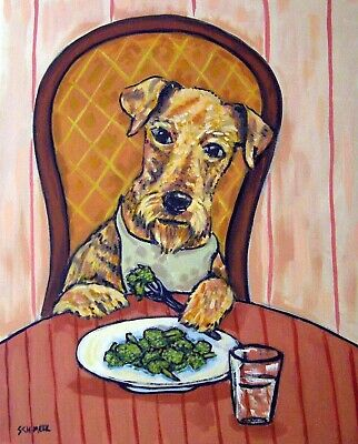 airedale terrier Broccoli painting dog art print 8x10