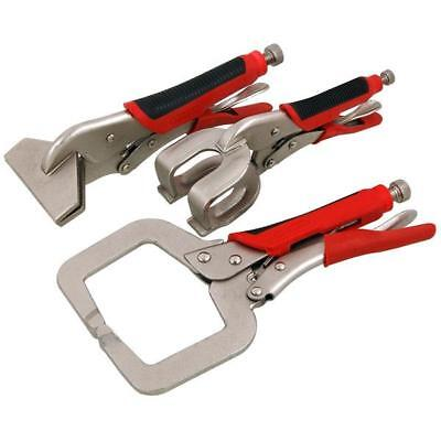3 Piece Welding Clamp Set - C clamp - Sheet Metal Spot Weld Locking Clamp