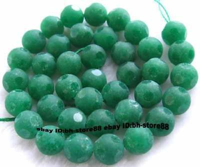 10mm newGreen Jade Round Faceted gemstone Beads 15''