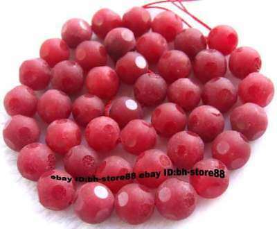 10mmDark Red Jade Round Faceted gemstone Beads 15''