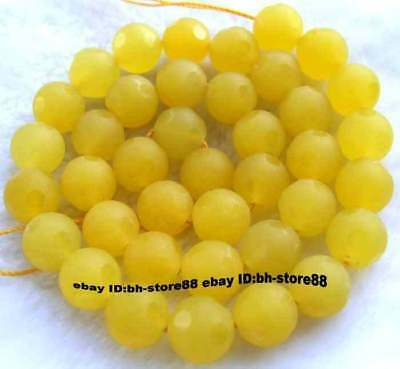 10mm new Yellow Jade Round Faceted gemstone Beads 15''