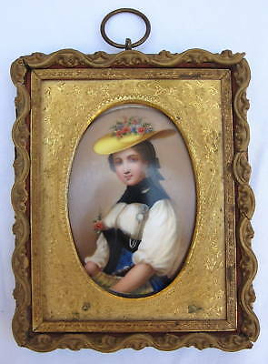 19th Century Hand Painted Porcelain Plaque in Frame