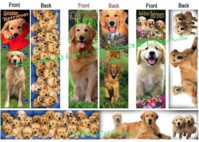 3 Set GOLDEN  RETRIEVER BOOKMARKS Dog puppies book figurine Book Mark Card Art