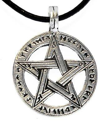 PENTAGRAM PENTACLE Silver Pewter Pendant Leather Surfer