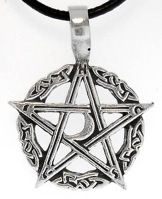 PENTAGRAM MOON Silver Pewter Pendant Leather Necklace