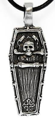 GOTHIC COFFIN SKULL Pewter Pendant Leather Necklace