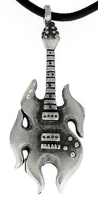 FLAME GUITAR ELECTRIC Pewter Pendant Leather Necklace