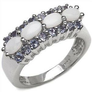 1.44ct Genuine Natural Opal + Natural Tanzanite Solid Sterling Silver 925 Ring