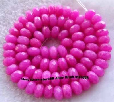 Rose Jade 5x8mm Roundel Faceted Beads 15.5""