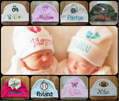 PERSONALIZED MONOGRAM CUSTOM Baby Boy Girl Beanie Hospital Hat Cap Keepsake Gift
