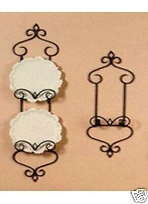 Wrought Iron French Wall One Plate Holder Rack Display 72cm Antique Brass color