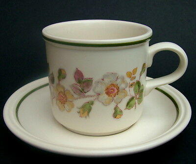 TWO Marks & Spencer Autumn Leaves Pattern Tall Tea Cups & Saucers Look in VGC