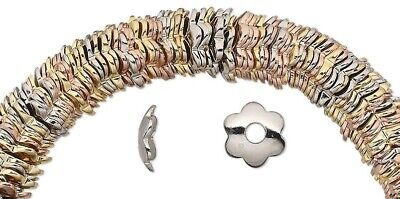 300 Gold, Silver & Copper Plated Steel Smooth Flower Bead Caps  / 7x2mm