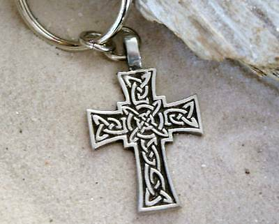 CELTIC KNOT IRISH CROSS SILVER Pewter KEYCHAIN Key Ring