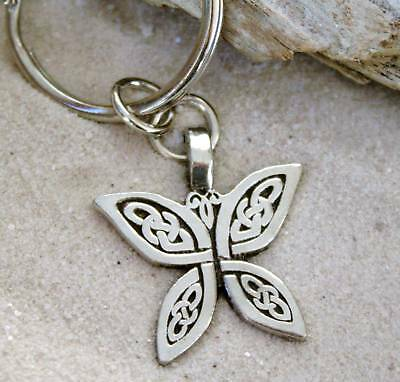 CELTIC KNOT BUTTERFLY SILVER Pewter KEYCHAIN Key Ring