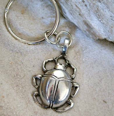 EGYPTIAN SCARAB BEETLE Pewter KEYCHAIN Key Ring