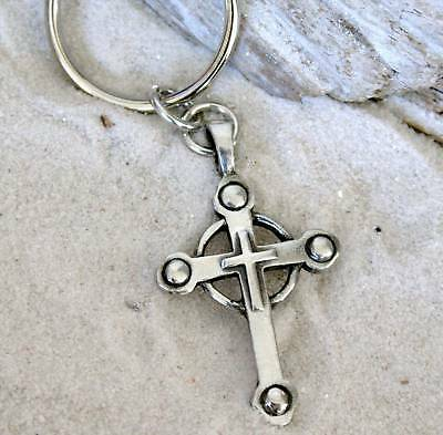 GOTHIC CHRISTIAN CROSS CELTIC Pewter KEYCHAIN Key Ring