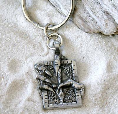 CLAW BOOK INVERTED CROSS Pewter KEYCHAIN Key Ring